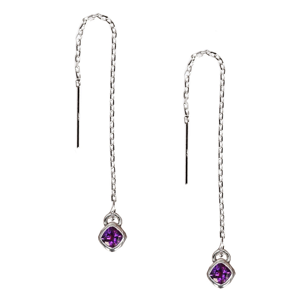 Cushion Amethyst Threader Earrings