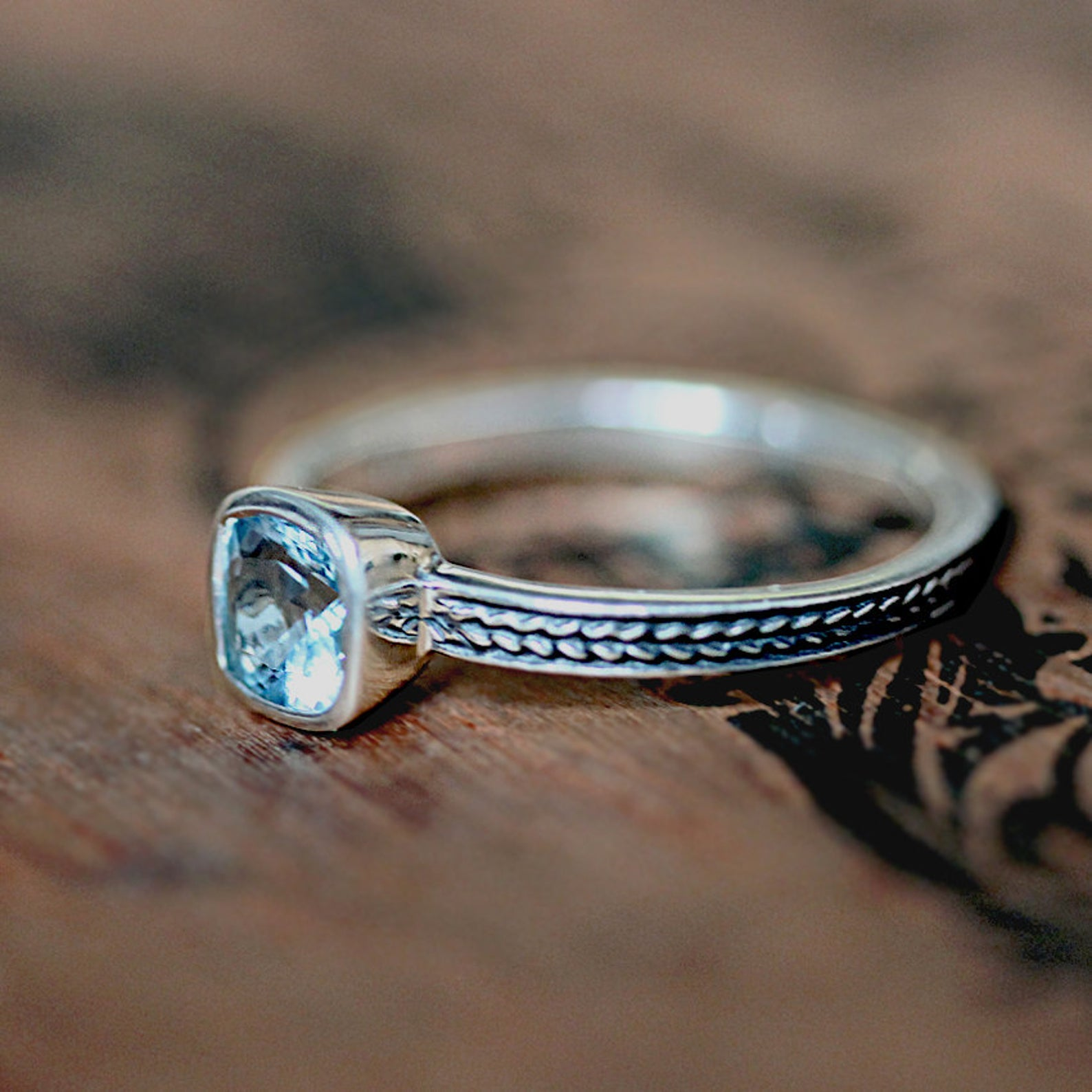 Aquamarine Cushion Cut Ring, Wheat Braid Ring, Ready to Ship Size 5.5