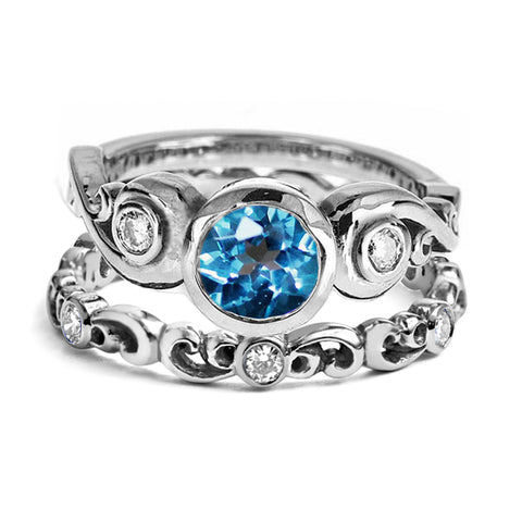 London Blue Topaz Cumulus Ring Set, Sterling Silver