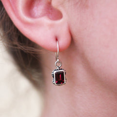 Emerald Cut Garnet Earrings, Silver Vintage Flower