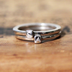 Modern Monogram Double Initial Ring, sterling silver