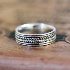 Wide Silver Braided Wedding Band, Wheat