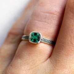 Imitation Emerald Cushion Cut Braid Engagement Ring