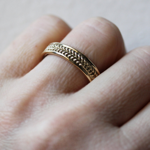Wide Gold Braided Wedding Band, Wheat