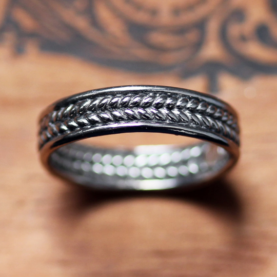 Mens Braided Wedding Band, White Gold Wheat