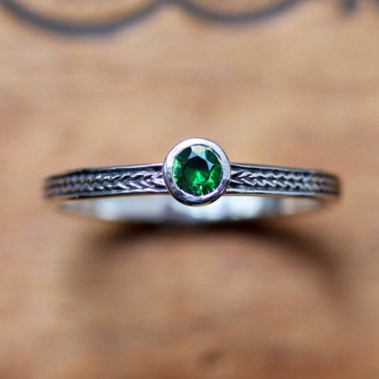 Green Tsavorite Mini Wheat Band Ring - Ready to Ship Size 7
