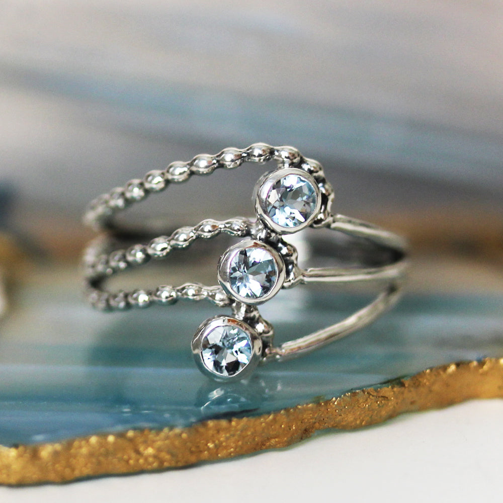 Elements Water Multi Stone Ring - Silver and Aquamarine