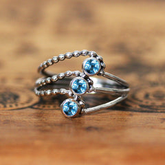 Elements Water Multi Stone Ring - Silver and London Blue Topaz