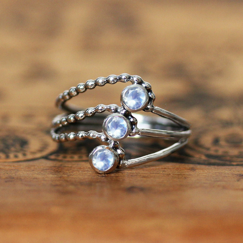 Moonstone Elements Multi Stone Ring - Silver Water Ring