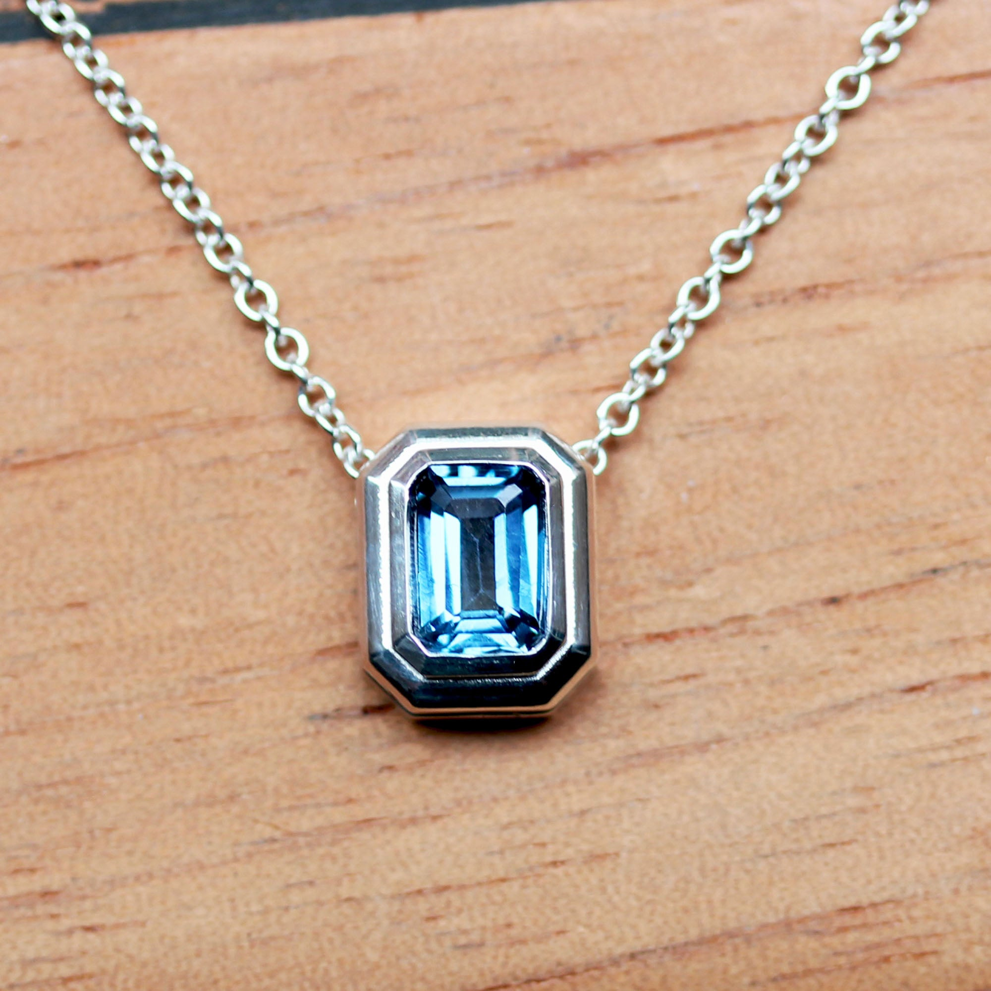 London Blue Topaz Modern Slider Necklace