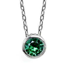 Emerald Bezel Necklace, Wrought Sterling Silver