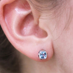 Brontë Stud Earrings, Swiss Blue Topaz