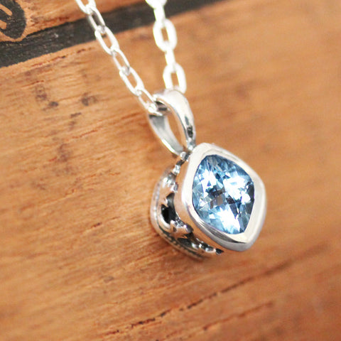 Aquamarine Sterling Silver Necklace, Emily Brontë