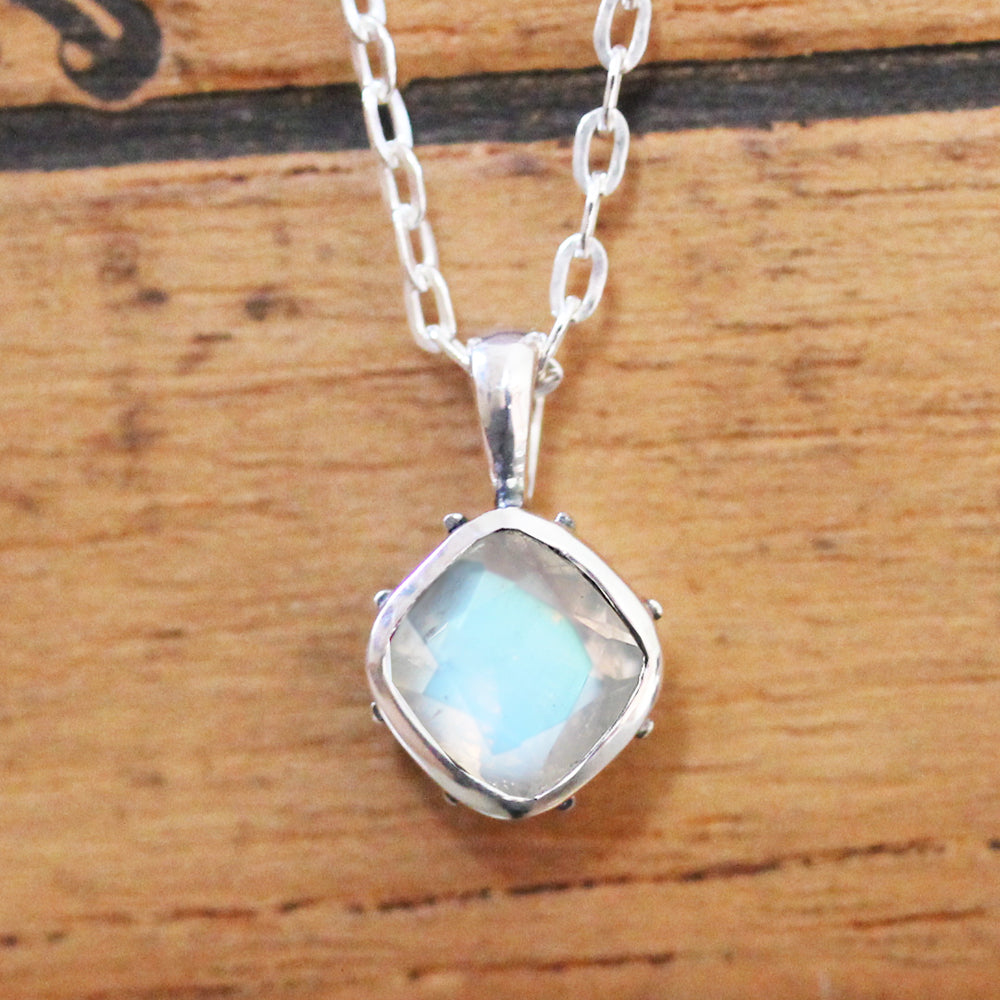 Rainbow Moonstone Sterling Silver Necklace, Emily Brontë