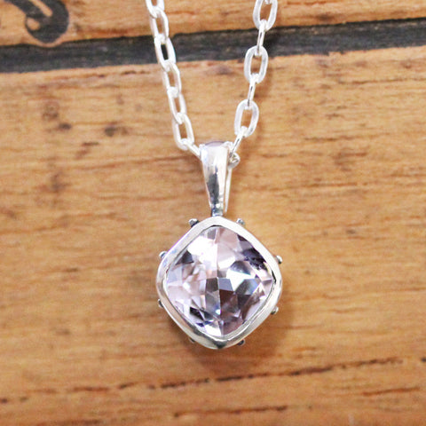 Morganite Sterling Silver Necklace, Emily Brontë
