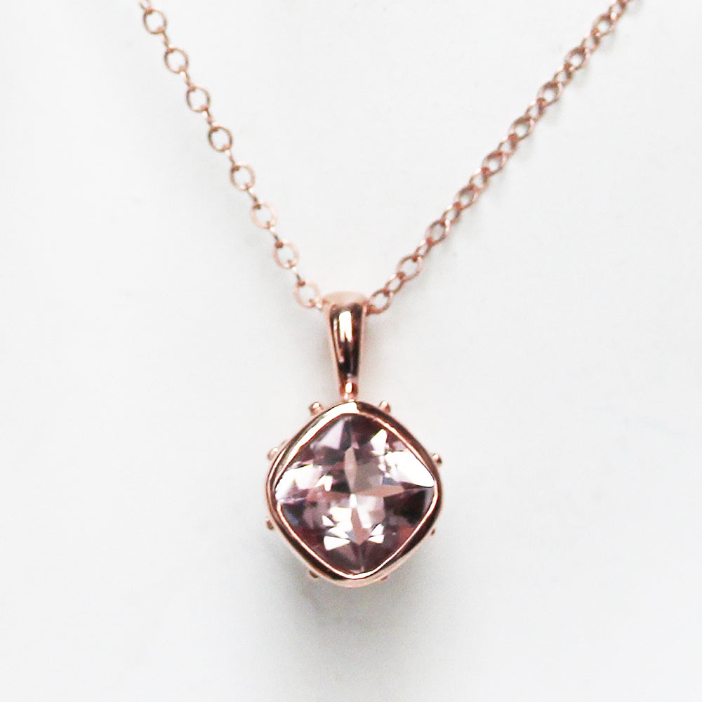 14k Rose Gold Morganite Necklace, Emily Brontë