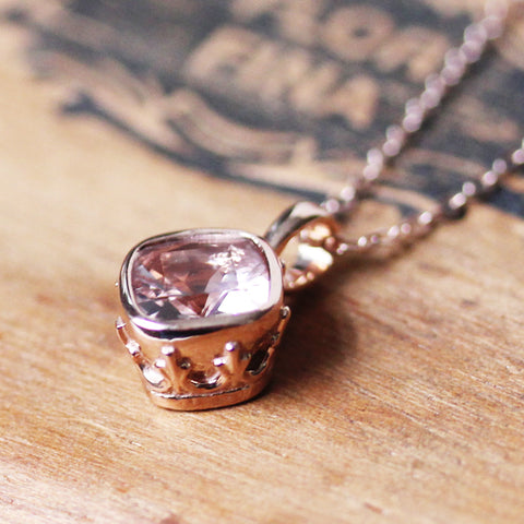 Rose gold vintage style pendant with pale pink cushion morganite gemstone.