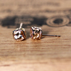 Morganite Brontë Stud Earrings, Rose Gold