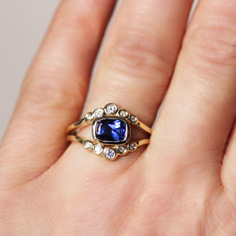 Yellow Gold Sapphire and Moissanite - Ether Ring