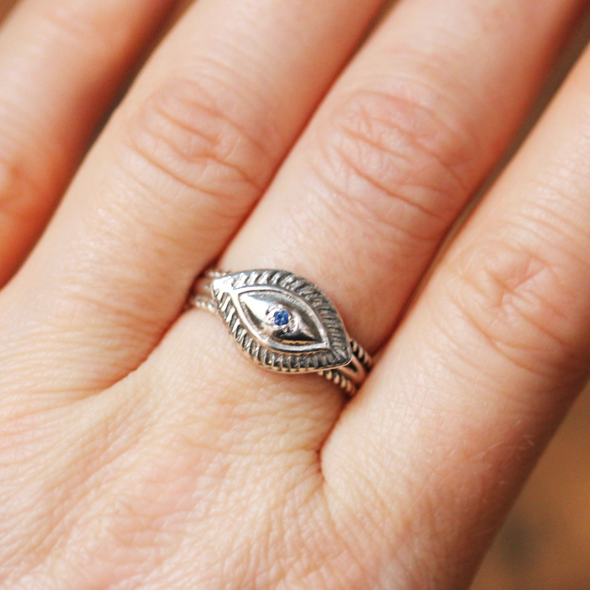 Protective Eye Ring with Sapphire, sterling silver