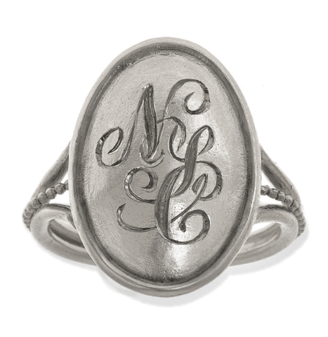 large-silver-monogram-ring