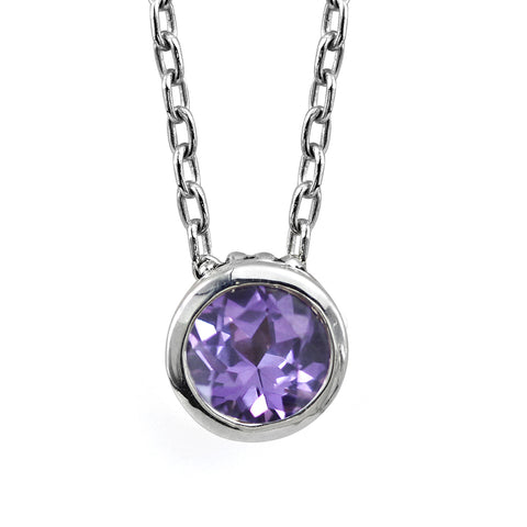 Recycled sterling silver necklace with a purple alexandrite gemstone.
