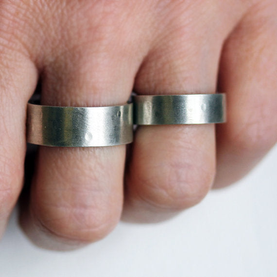 handmade-ethical-Wide-Rustic-Rock-Silver-Wedding-Band-Set-03