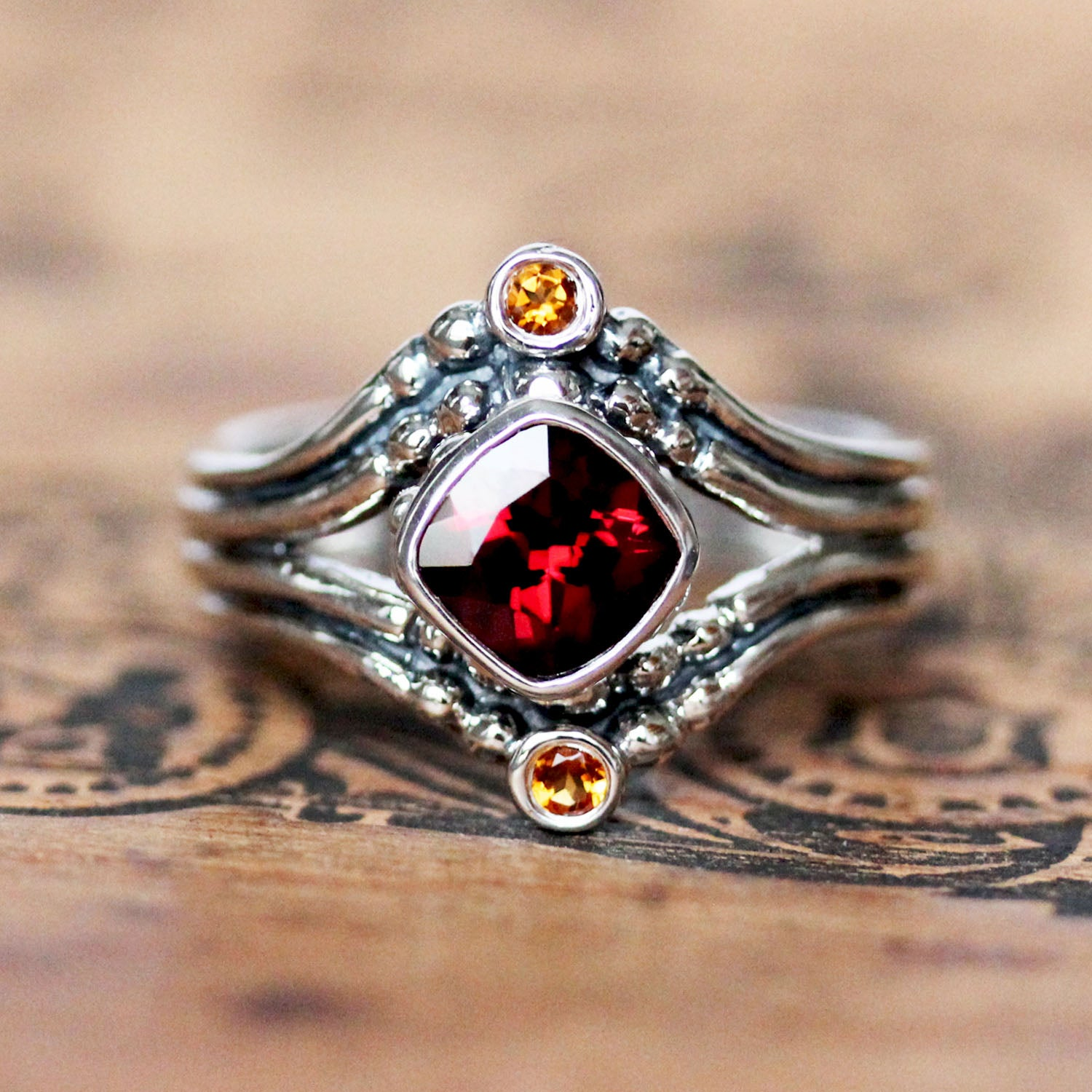 Fire Ring - Garnet & Citrine