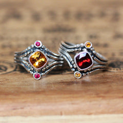 Fire Ring - Citrine & Ruby