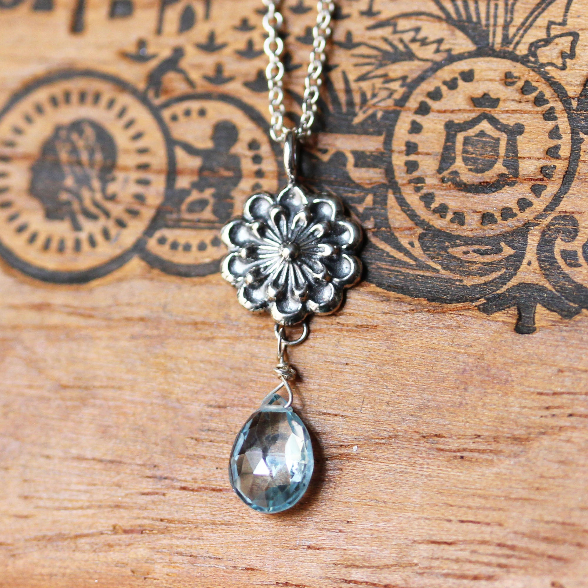 Blue Topaz Flower Necklace, Sterling Silver