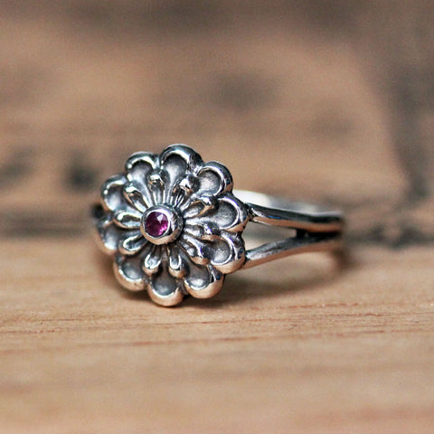 Silver Flower Ring, Pink Sapphire