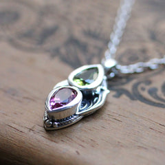 Peridot and Topaz Multi Stone Pendant in Sterling Silver, Gaia
