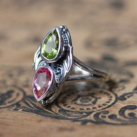 Peridot and Topaz Multi Stone Ring in Sterling Silver, Gaia