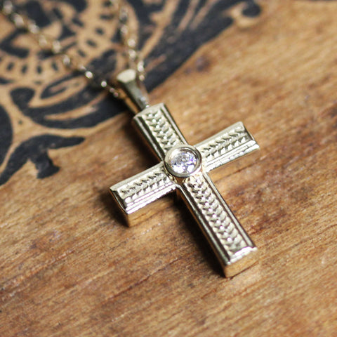 Tiny Gold Cross Necklace, 14k gold