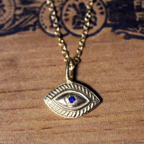 Sapphire Eye Necklace, 14k gold