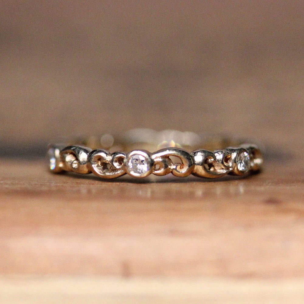 Moissanite Eternity Band 14k Gold, Water Dream