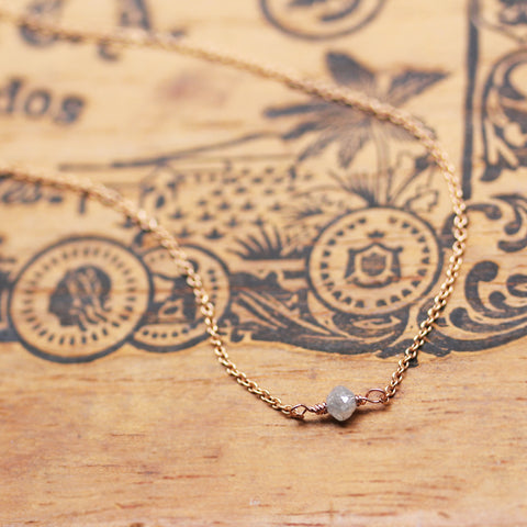 Raw Gray Diamond Rose Gold Necklace-- Limited Edition