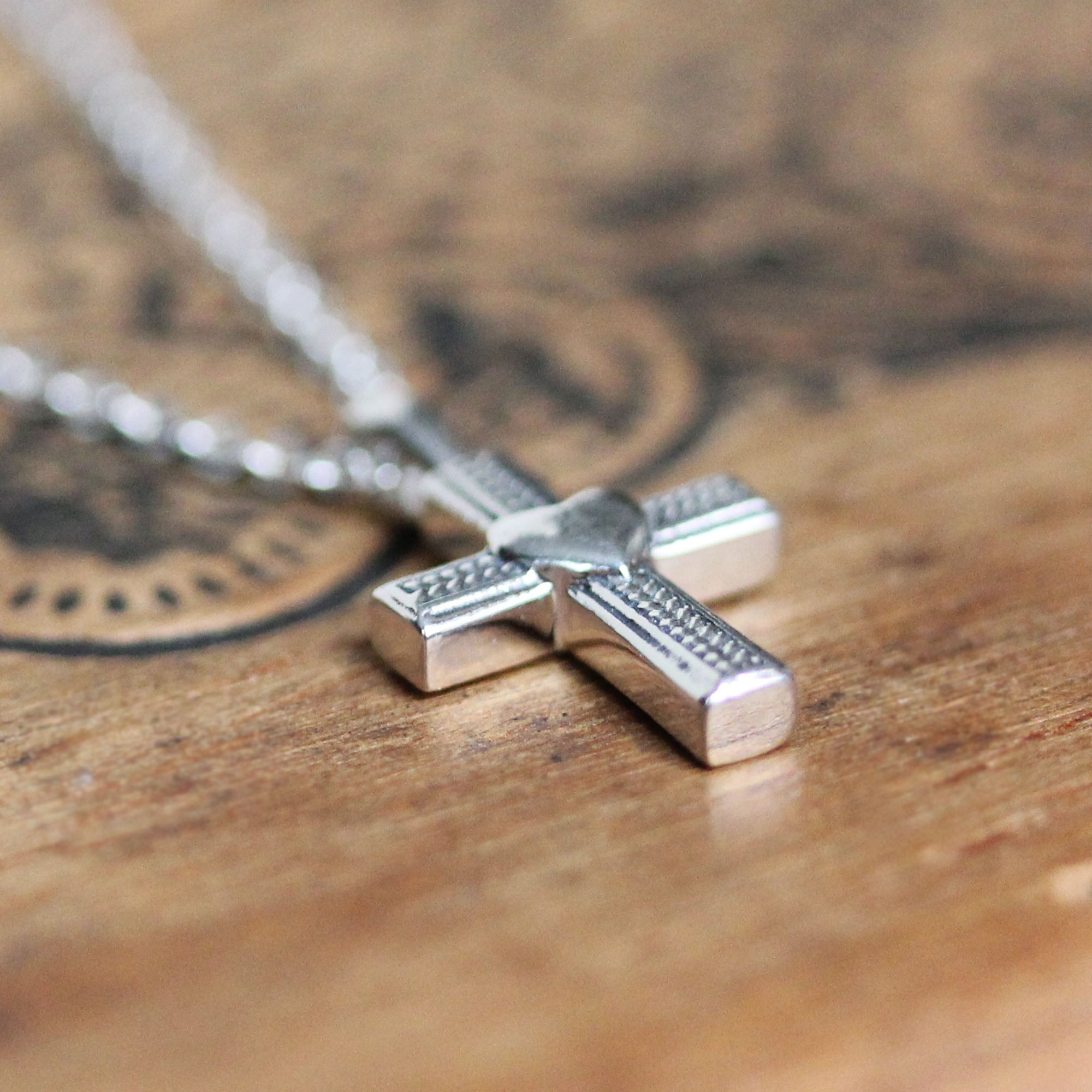 Silver Cross and Heart Necklace
