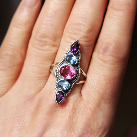 Swiss Blue Topaz, Pink Topaz and Amethyst Multi Stone Ring in Sterling Silver, Hera