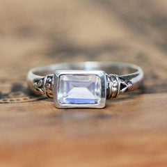 Moonstone Emerald Cut Ring, Anne Brontë