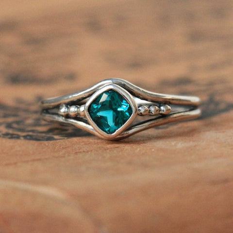 Green Tourmaline Ring, Beaded promise ring