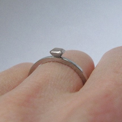 Silver Stone Ring, Size 8