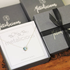 View of Metalicious box that our jewelry is shipped in
