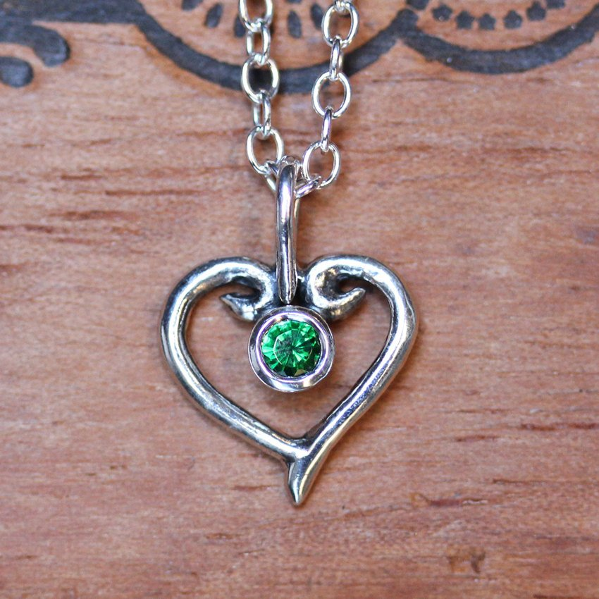 Emerald Silver Heart Necklace