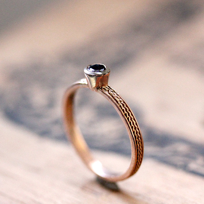 Black Spinel Rose Gold Wheat Ring, Size 7