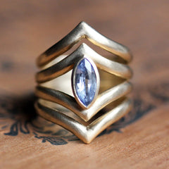 Blue Sapphire Arrow Gold Ring, Size 7.25