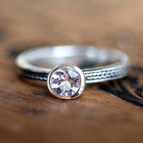 Pink Morganite Engagement Ring, Ready to Ship in Size 6