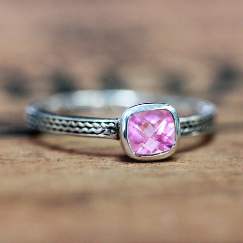 Cushion Pink Tourmaline Ring, Silver Wheat Ring