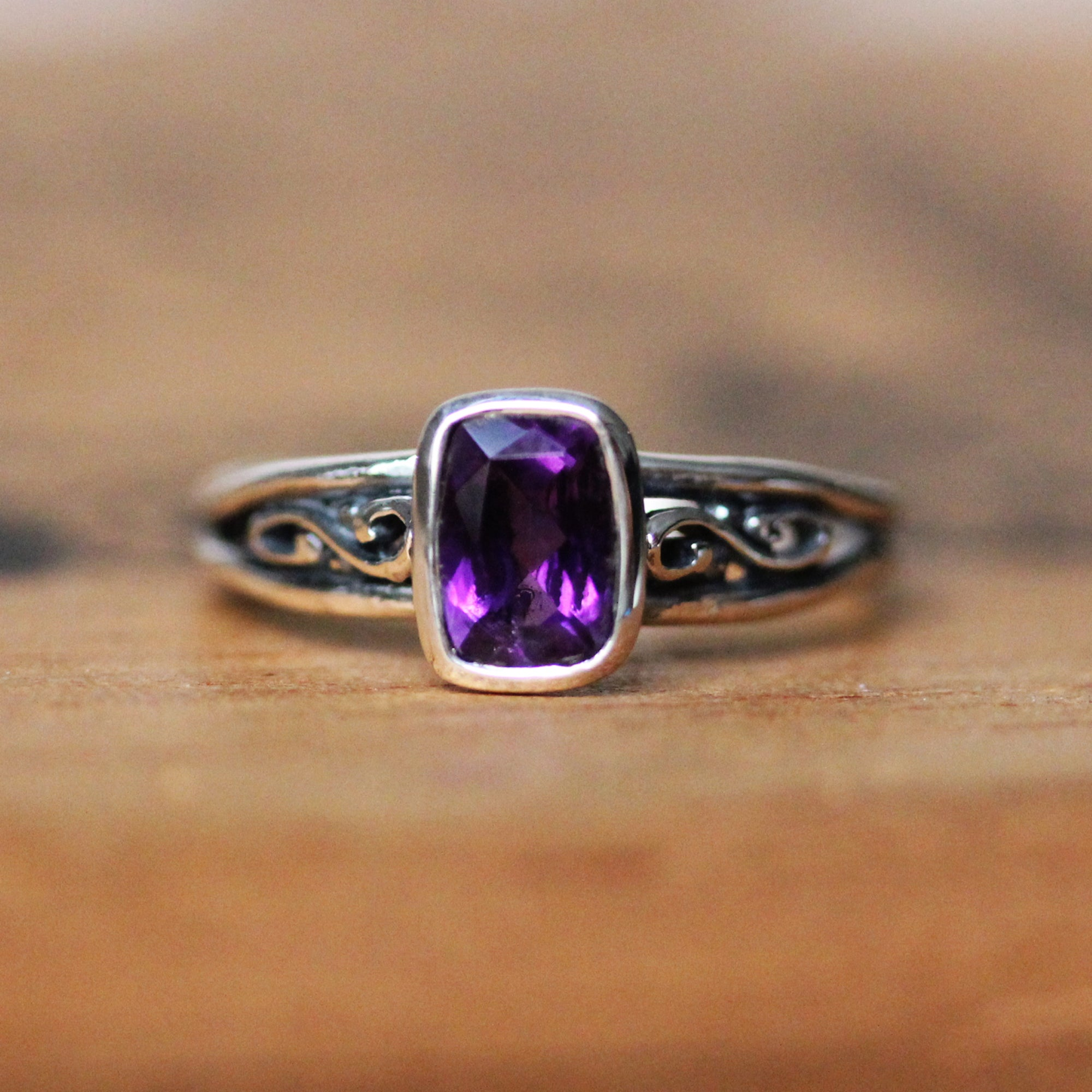 Cushion Amethyst Infinity Ring