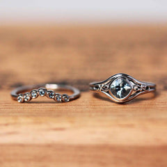 Aquamarine Infinity Engagement Ring Set